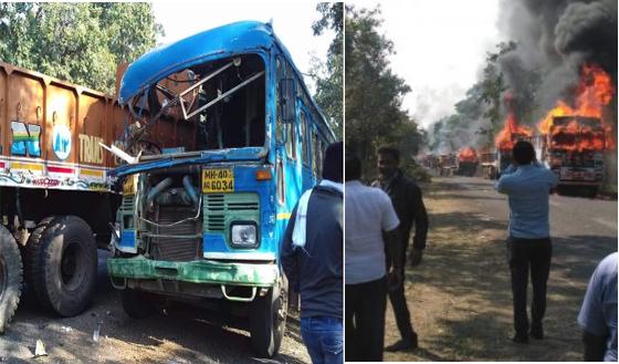महाराष्ट्र में भयानक सड़क दुर्घटना 6 की मौत, लोगो ने गाड़ीयों को आग लगा दी 13