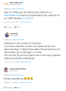 आनंद महिन्द्रा ने एक बैंकर का वीडियो शेयर किया, कोरोना से बचने के लिए कर रहा है यह उपाय! 1