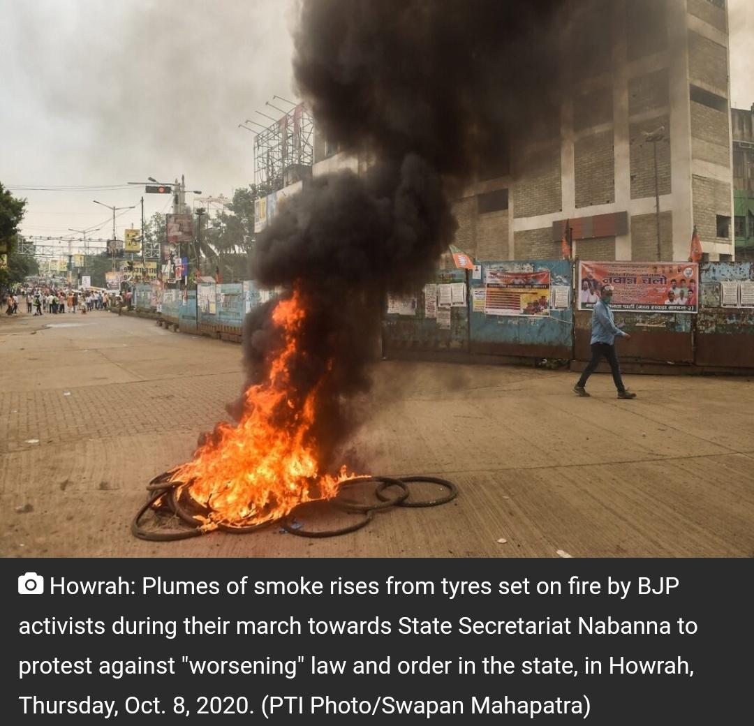 पश्चिम बंगाल: प्रदर्शन के दौरान बीजेपी कार्यकर्ताओं और पुलिस में झड़प! 8