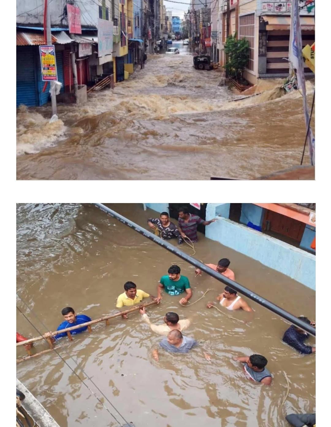 हैदराबाद: कई एनजीओ बाढ़ प्रभावित इलाकों में लोगों को मदद पहुचा रहे हैं! 1