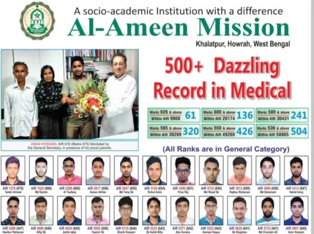 पश्चिम बंगाल: अल आमिन मिशन के 500 से ज्यादा छात्रों ने NEET में कामयाबी हासिल किया! 12