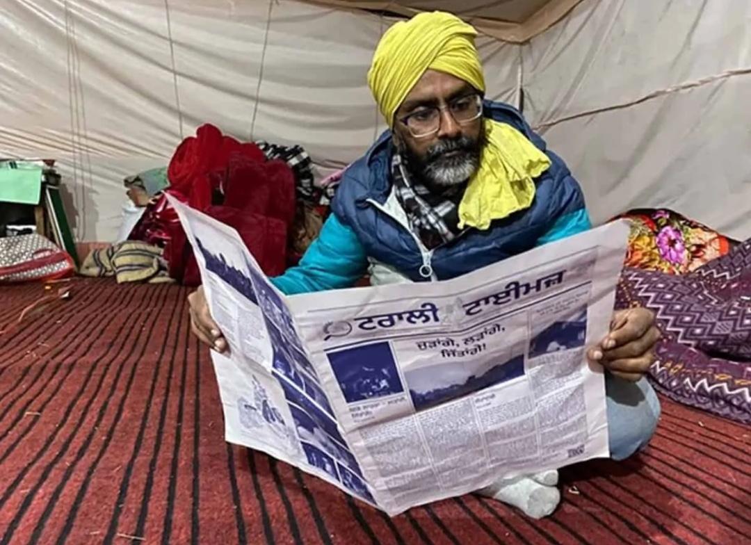 सिंघू बॉर्डर पर किसानों ने लगाया लाइब्रेरी! 7