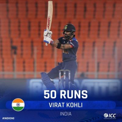 अहमदाबाद टी20 : रोहित-कोहली के अर्धशतकों से भारत ने इंग्लैंड को दिया 225 रन का लक्ष्य (लीड-1)