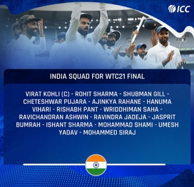 डब्ल्यूटीसी फाइनल के लिए 15 सदस्यीय भारतीय क्रिकेट टीम की घोषणा (लीड-2)