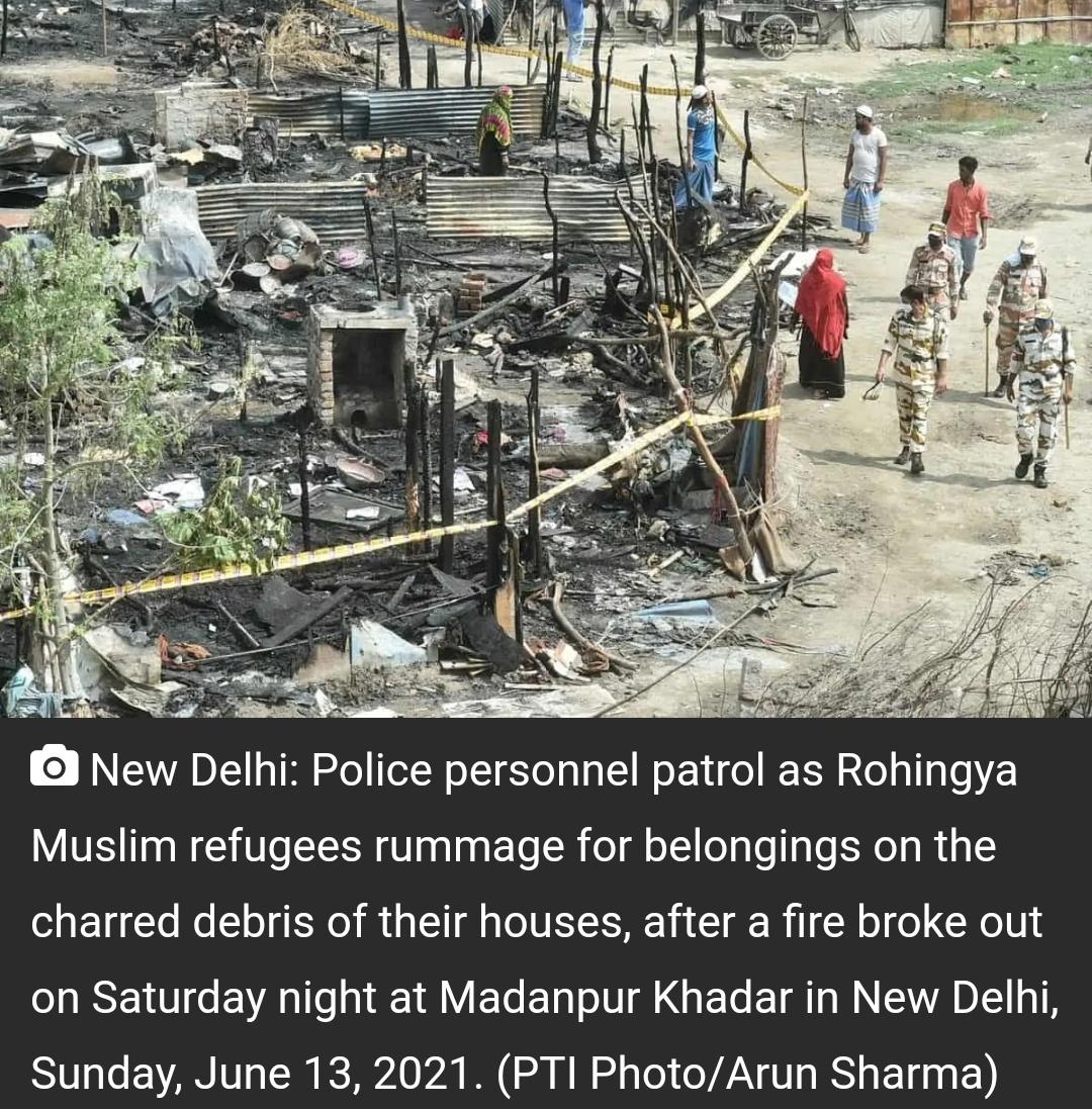 दिल्ली में रोहिंग्या शरणार्थियों की 50 से अधिक झुग्गियां आग की चपेट में! 2