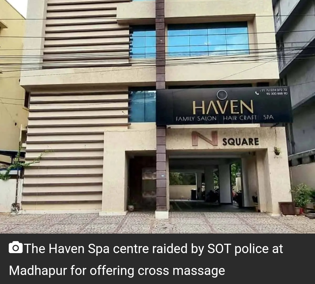 माधापुर में क्रॉस मसाज देने वाले स्पा सेंटर पर छापा,22 गिरफ्तार 17