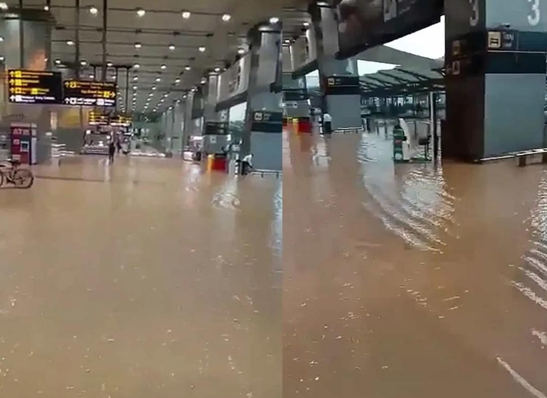 दिल्ली हवाई अड्डे के फोरकोर्ट में जलभराव, 3 उड़ानें रद्द, 5 भारी बारिश के कारण डायवर्ट 8