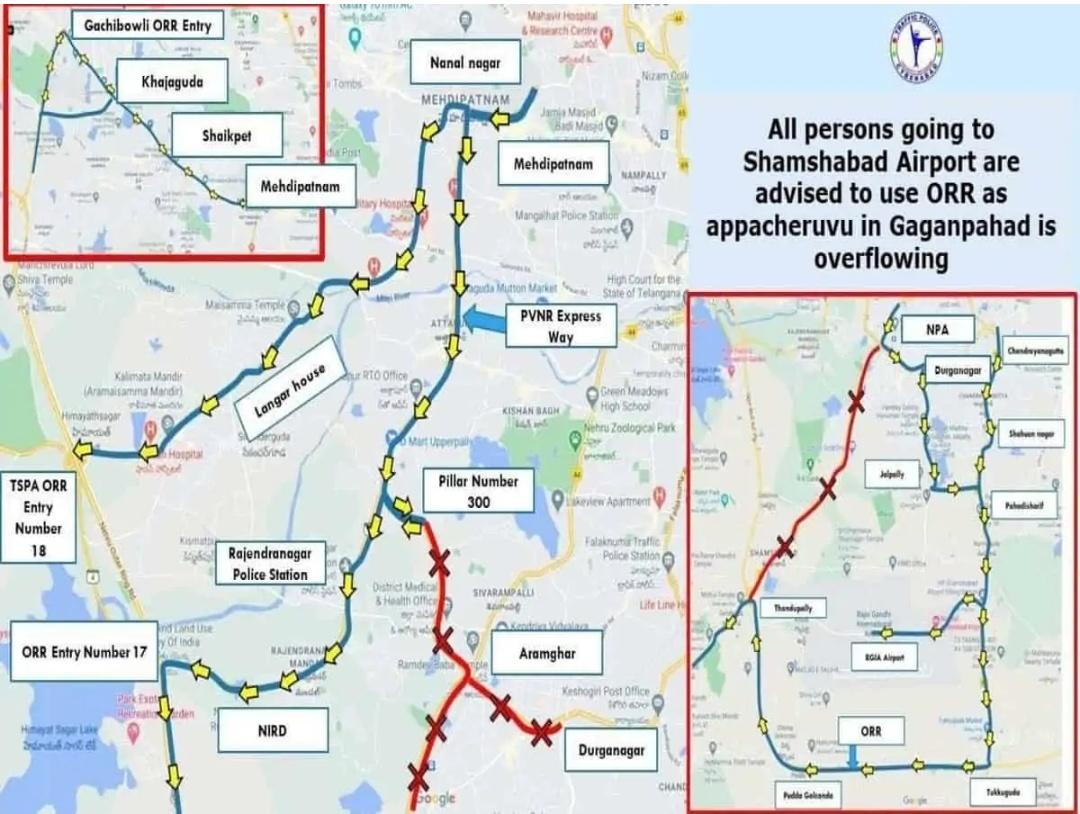 हैदराबाद: शमशाबाद रोड, पीवीएनआर एक्सप्रेसवे भारी बारिश के कारण अप्पा चेरुवु के ओवरफ्लो होने से बंद 8