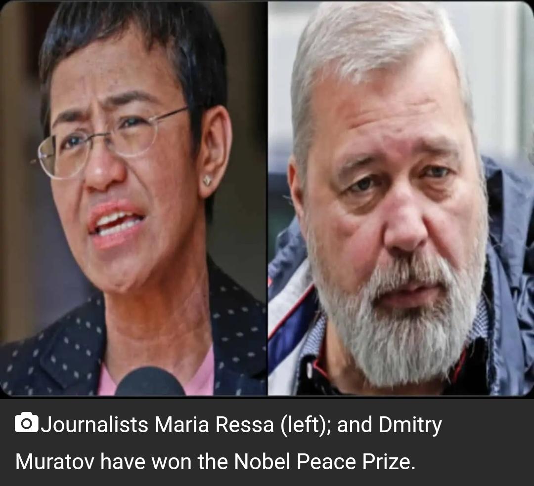 पत्रकार मारिया रसा, दिमित्री मुराटोव ने 2021 का नोबेल शांति पुरस्कार जीता! 4