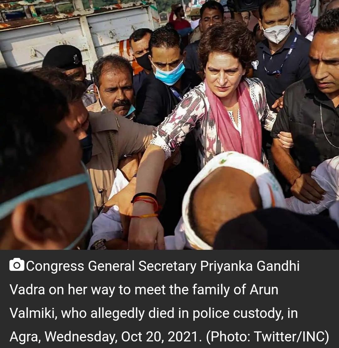 आगरा जाने के रास्ते में प्रियंका गांधी को यूपी पुलिस ने हिरासत में लिया 9